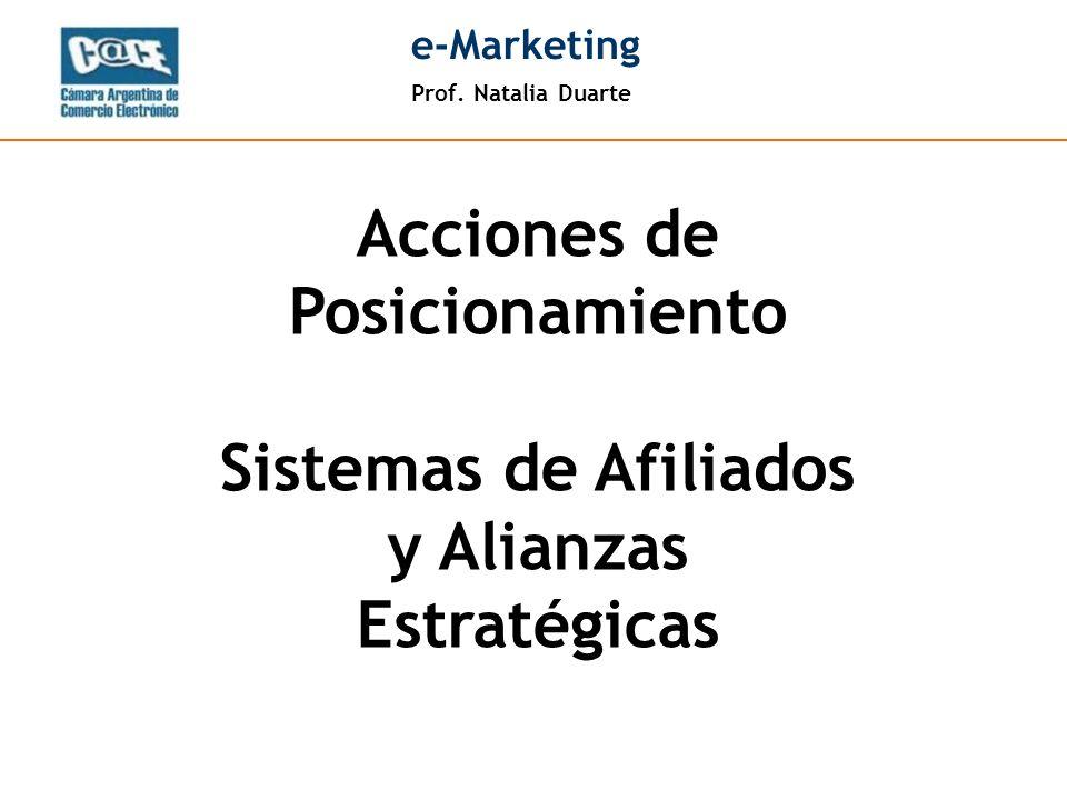 Prof. Natalia Duarte e-Marketing Acciones de Posicionamiento Sistemas de Afiliados y Alianzas Estratégicas