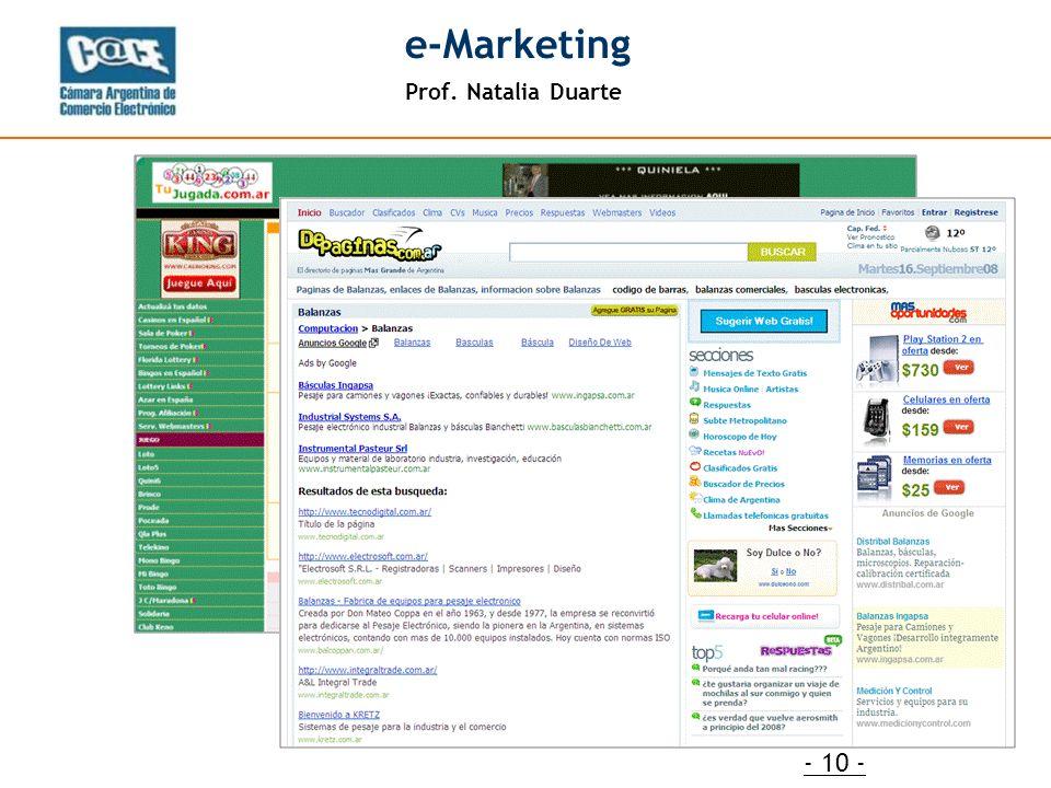 Prof. Natalia Duarte e-Marketing - 10 -