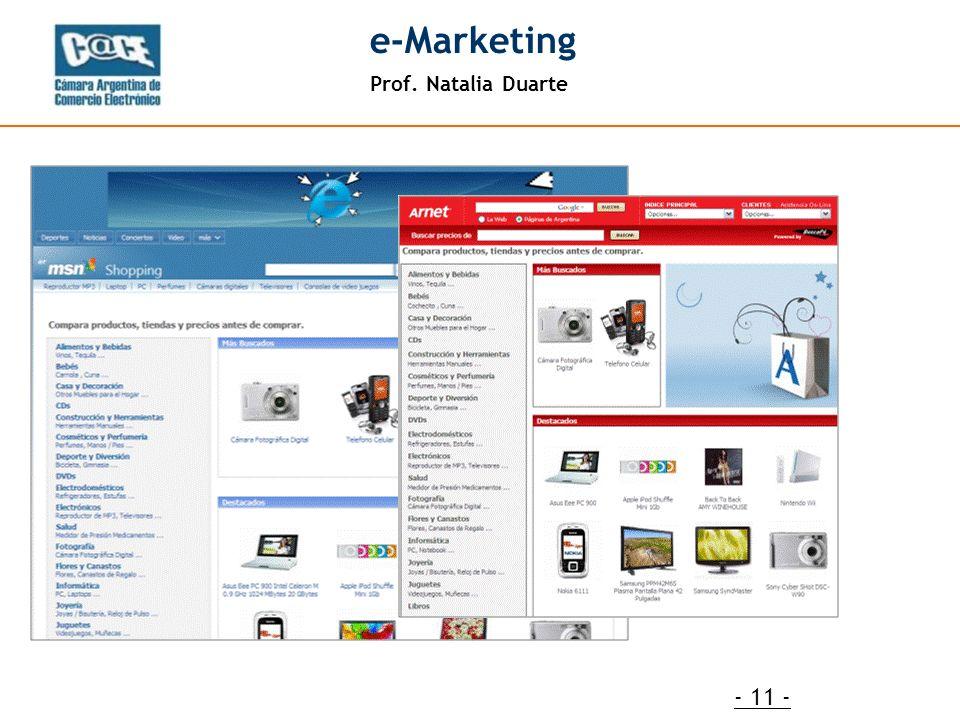 Prof. Natalia Duarte e-Marketing - 11 -