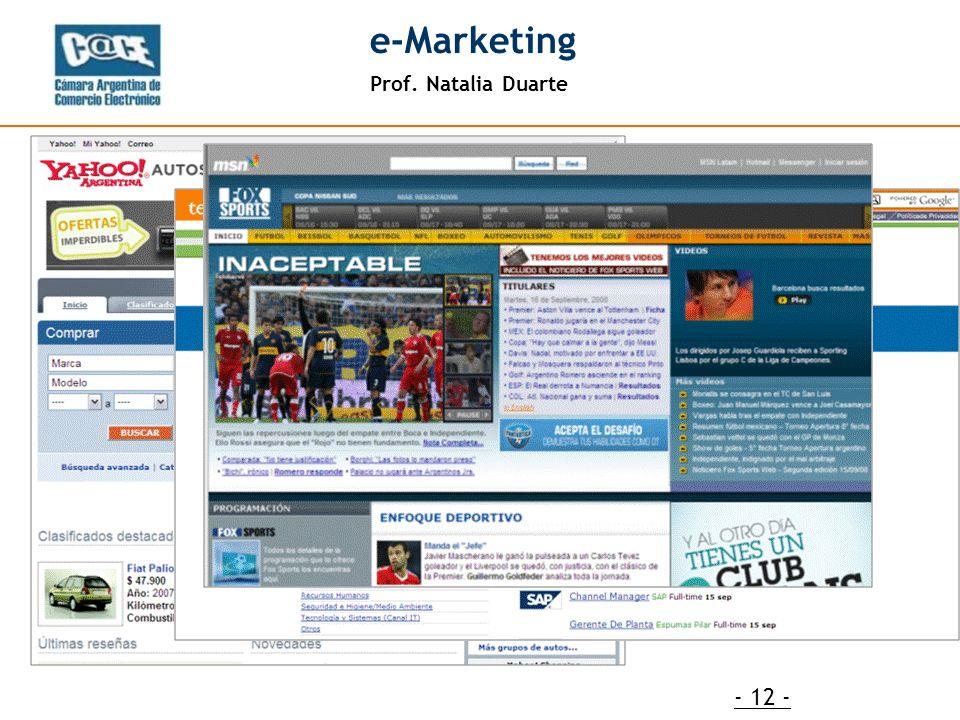 Prof. Natalia Duarte e-Marketing - 12 -