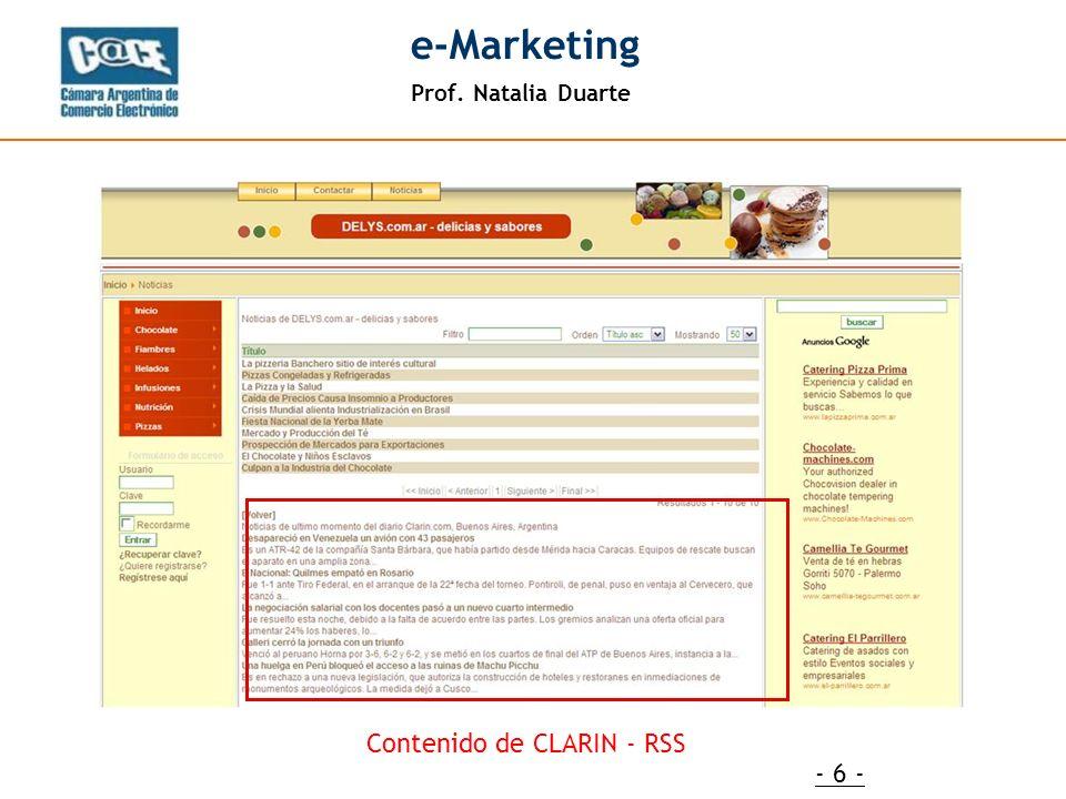 Prof. Natalia Duarte e-Marketing - 6 - Contenido de CLARIN - RSS