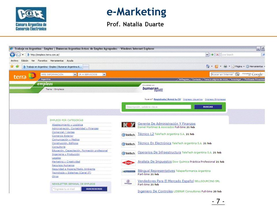 Prof. Natalia Duarte e-Marketing - 7 -