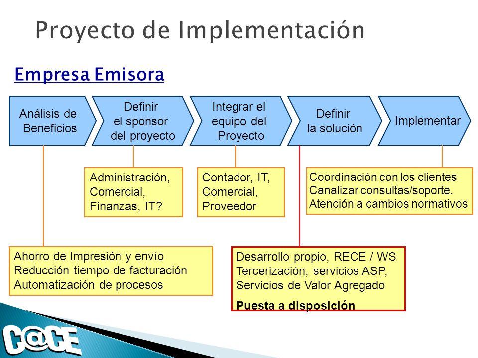Análisis de Beneficios Definir el sponsor del proyecto Integrar el equipo del Proyecto Definir la solución Implementar Ahorro de Impresión y envío Reducción tiempo de facturación Automatización de procesos Administración, Comercial, Finanzas, IT.