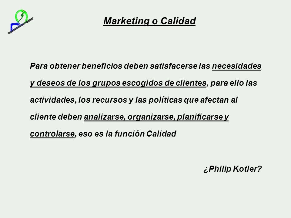 Marketing o Calidad Para obtener beneficios deben satisfacerse las necesidades y deseos de los grupos escogidos de clientes, para ello las actividades