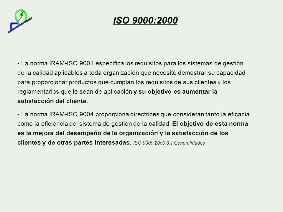 - La norma lRAM-ISO 9001 especifica los requisitos para los sistemas de gestión de la calidad aplicables a toda organización que necesite demostrar su