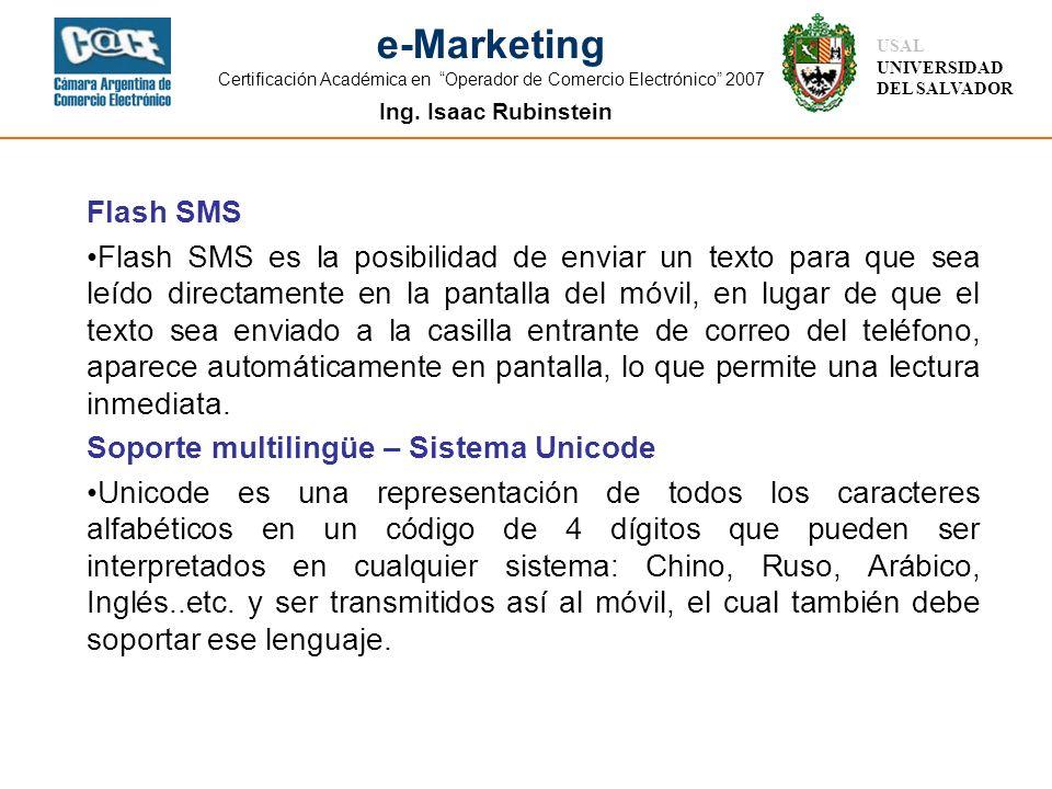 Ing. Isaac Rubinstein USAL UNIVERSIDAD DEL SALVADOR e-Marketing Certificación Académica en Operador de Comercio Electrónico 2007 Flash SMS Flash SMS e