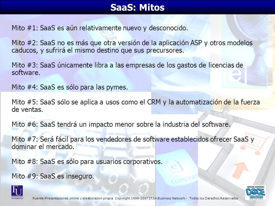 Fuente:Presentaciones online y eleaboracion propia Copyright 1999-2007 ITSA Business Network - Todos los Derechos Reservados Mito #1: SaaS es aún relativamente nuevo y desconocido.
