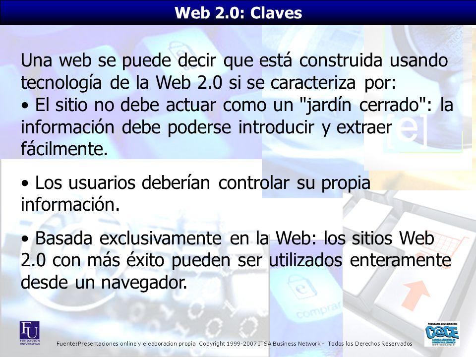 Fuente:Presentaciones online y eleaboracion propia Copyright 1999-2007 ITSA Business Network - Todos los Derechos Reservados Una web se puede decir qu