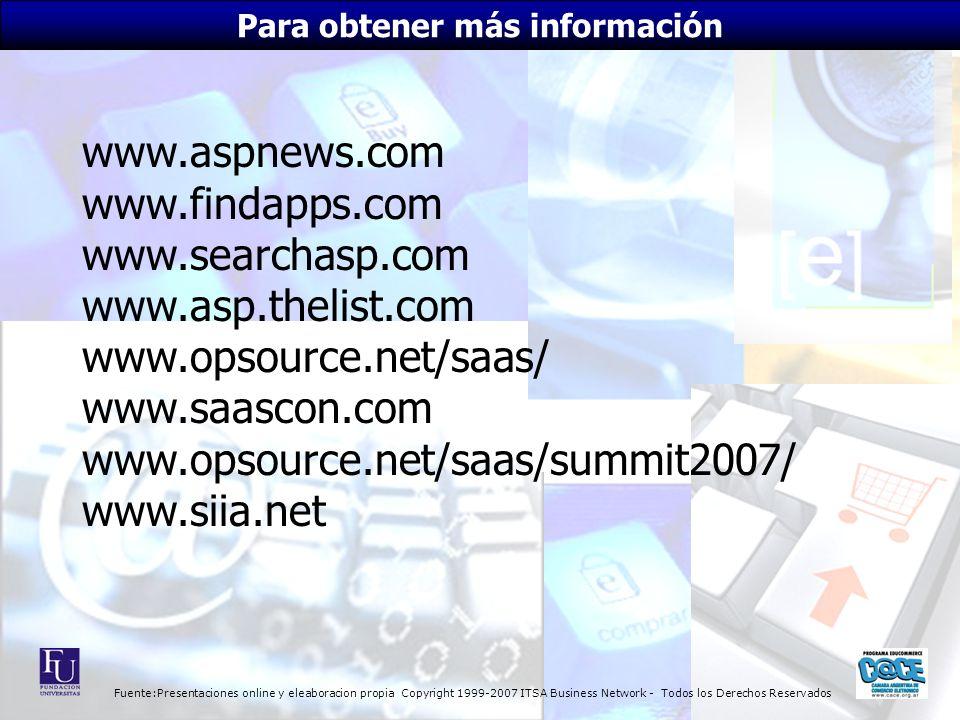Fuente:Presentaciones online y eleaboracion propia Copyright 1999-2007 ITSA Business Network - Todos los Derechos Reservados www.aspnews.com www.findapps.com www.searchasp.com www.asp.thelist.com www.opsource.net/saas/ www.saascon.com www.opsource.net/saas/summit2007/ www.siia.net Para obtener más información