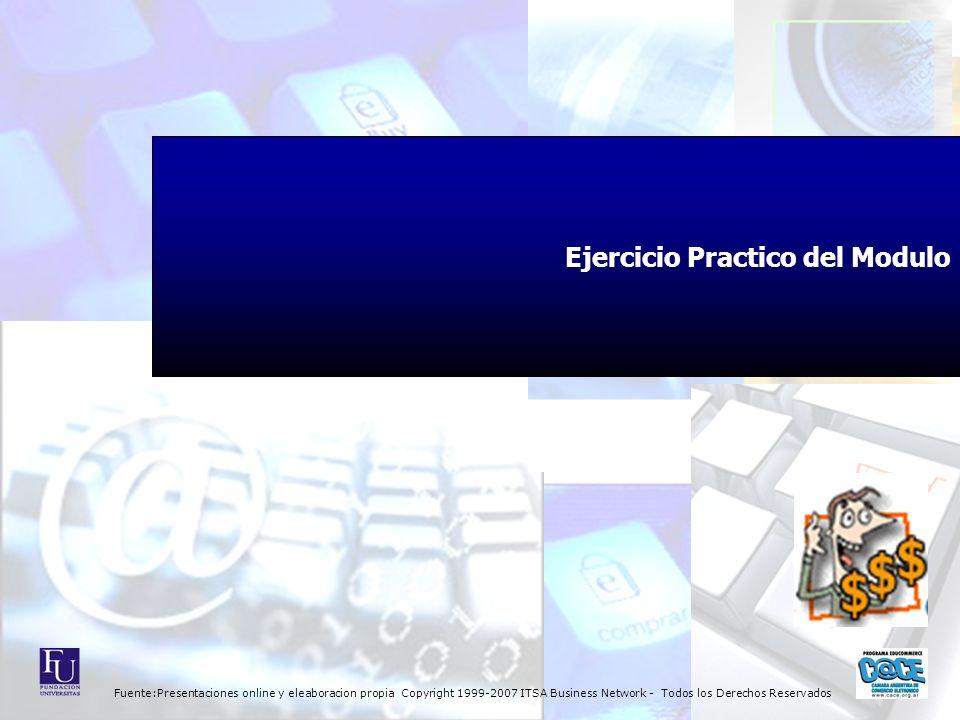 Fuente:Presentaciones online y eleaboracion propia Copyright 1999-2007 ITSA Business Network - Todos los Derechos Reservados Ejercicio Practico del Modulo