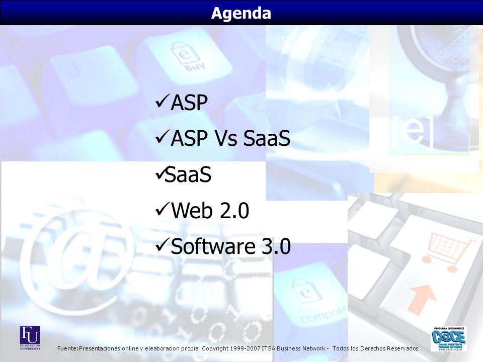 Fuente:Presentaciones online y eleaboracion propia Copyright 1999-2007 ITSA Business Network - Todos los Derechos Reservados Agenda ASP ASP Vs SaaS SaaS Web 2.0 Software 3.0