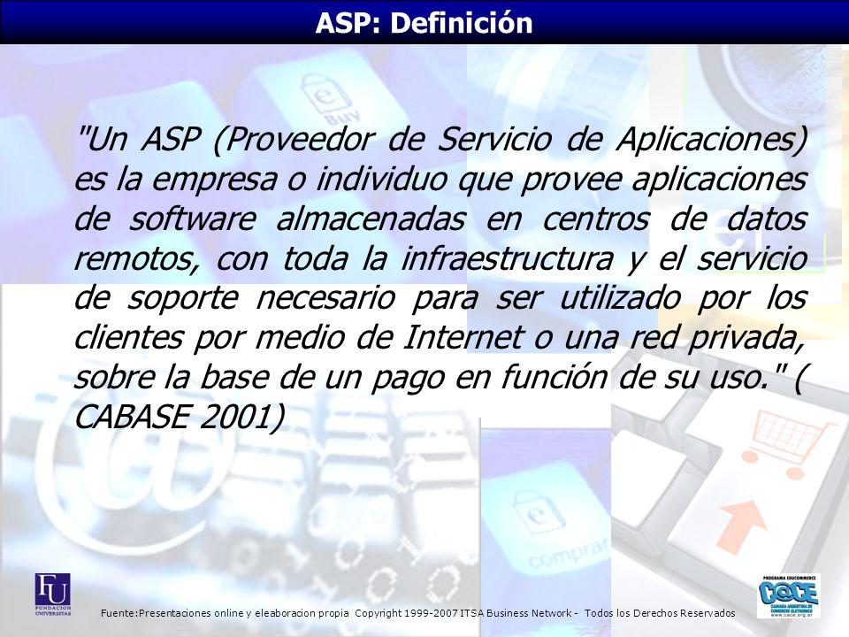 Fuente:Presentaciones online y eleaboracion propia Copyright 1999-2007 ITSA Business Network - Todos los Derechos Reservados Un ASP (Proveedor de Servicio de Aplicaciones) es la empresa o individuo que provee aplicaciones de software almacenadas en centros de datos remotos, con toda la infraestructura y el servicio de soporte necesario para ser utilizado por los clientes por medio de Internet o una red privada, sobre la base de un pago en función de su uso. ( CABASE 2001) ASP: Definición