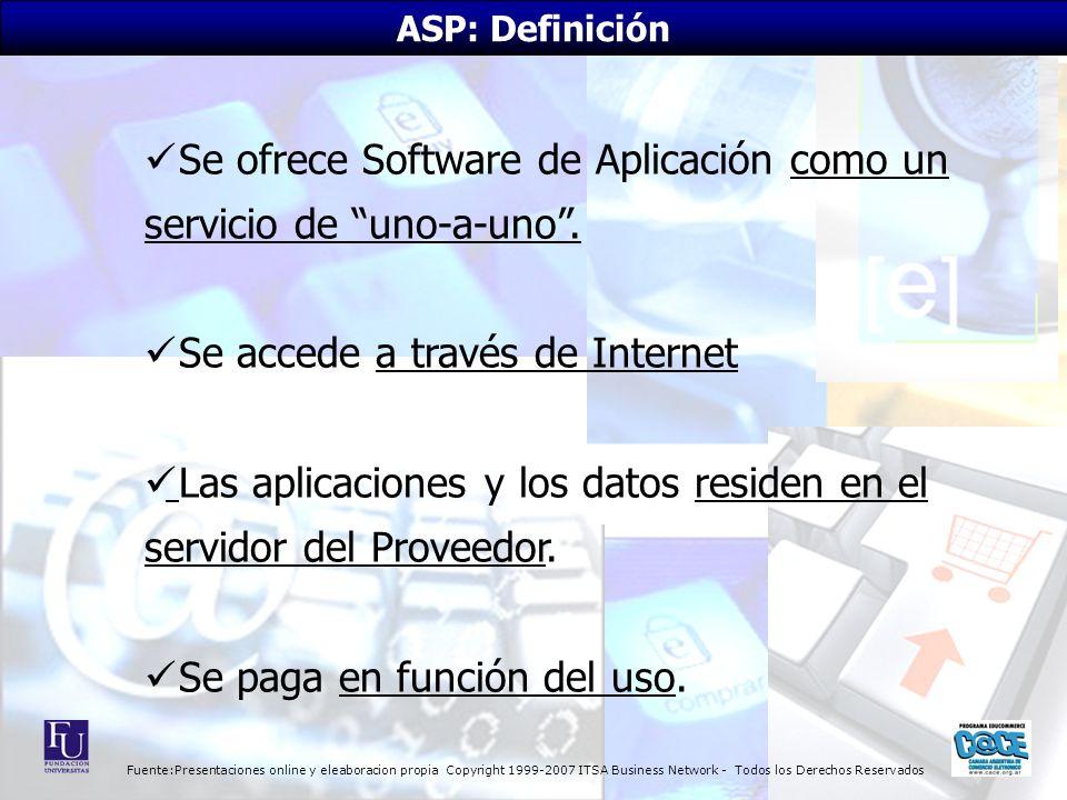 Fuente:Presentaciones online y eleaboracion propia Copyright 1999-2007 ITSA Business Network - Todos los Derechos Reservados ASP: Definición Se ofrece Software de Aplicación como un servicio de uno-a-uno.