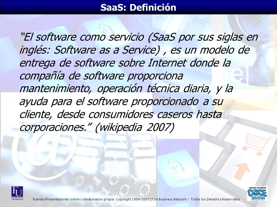 Fuente:Presentaciones online y eleaboracion propia Copyright 1999-2007 ITSA Business Network - Todos los Derechos Reservados El software como servicio