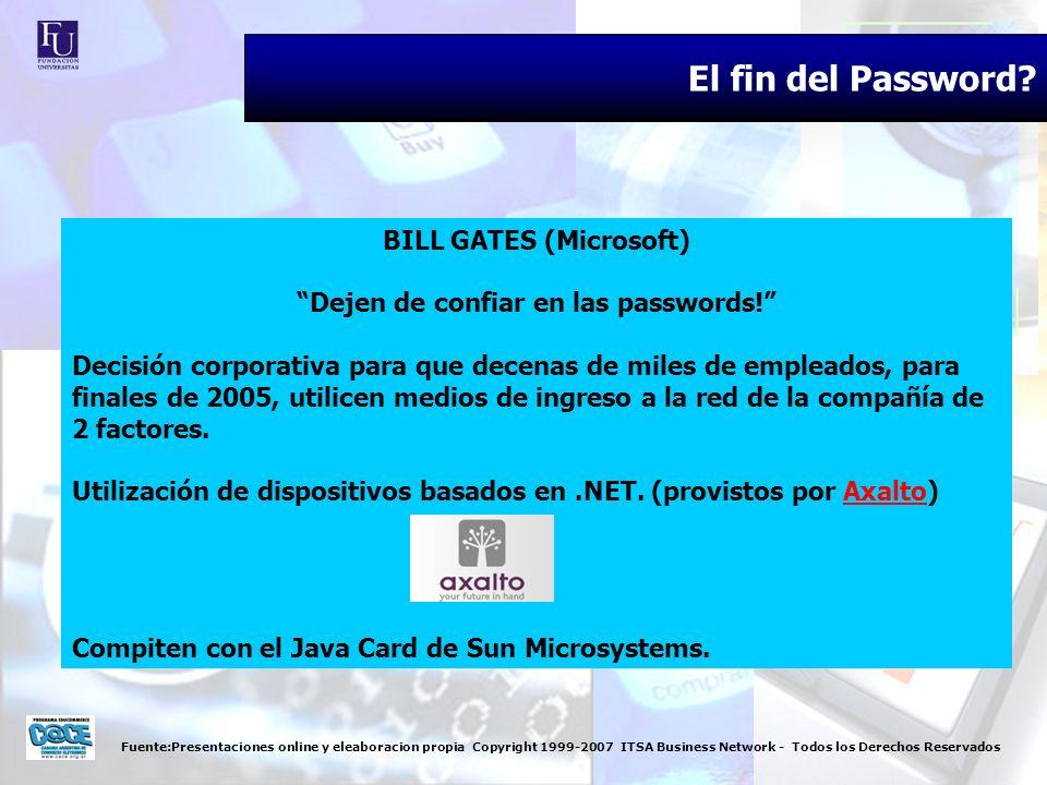 Fuente:Presentaciones online y eleaboracion propia Copyright 1999-2007 ITSA Business Network - Todos los Derechos Reservados El fin del Password? BILL
