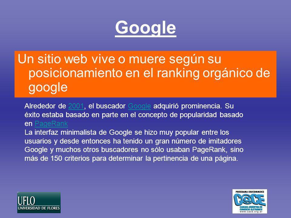 Google Un sitio web vive o muere según su posicionamiento en el ranking orgánico de google Alrededor de 2001, el buscador Google adquirió prominencia.