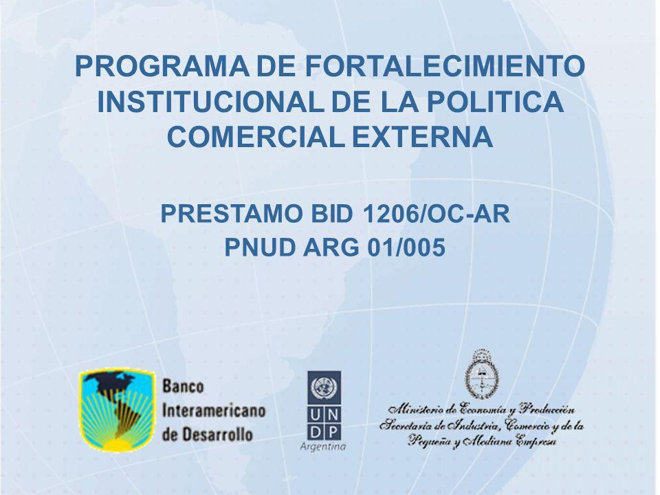 PROGRAMA DE FORTALECIMIENTO INSTITUCIONAL DE LA POLITICA COMERCIAL EXTERNA PRESTAMO BID 1206/OC-AR PNUD ARG 01/005