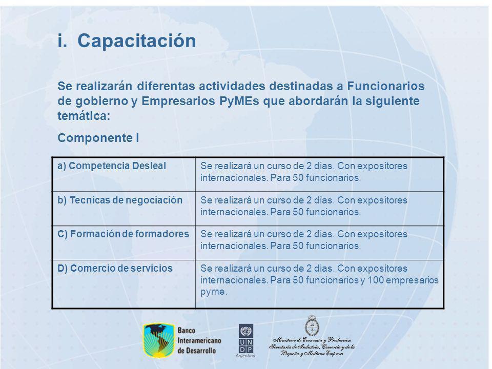 i.Capacitación a) Competencia DeslealSe realizará un curso de 2 dias.