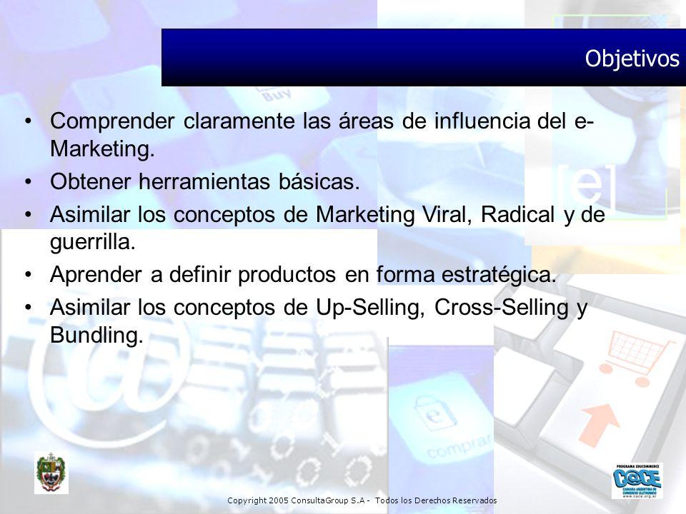 Copyright 2005 ConsultaGroup S.A - Todos los Derechos Reservados Objetivos Comprender claramente las áreas de influencia del e- Marketing. Obtener her