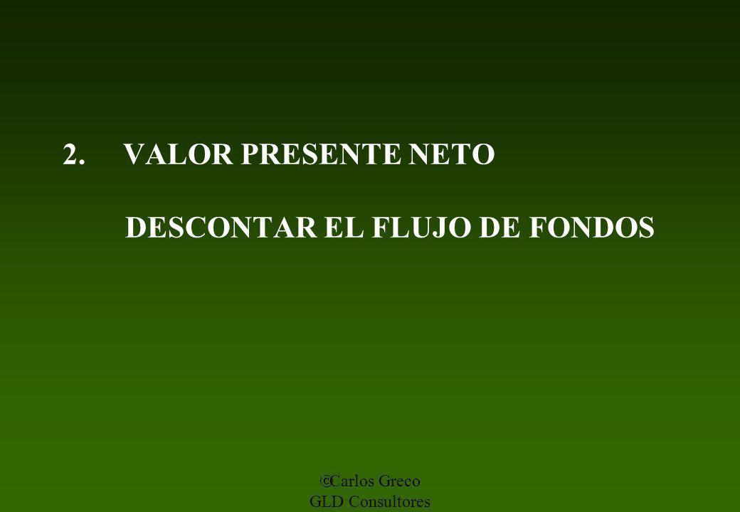 Carlos Greco GLD Consultores 2. VALOR PRESENTE NETO DESCONTAR EL FLUJO DE FONDOS