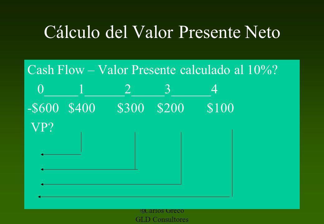 Carlos Greco GLD Consultores Cálculo del Valor Presente Neto Cash Flow – Valor Presente calculado al 10%? 0_____1______2_____3______4 -$600 $400 $300