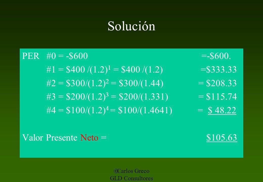Carlos Greco GLD Consultores Solución PER #0 = -$600 =-$600. #1 = $400 /(1.2) 1 = $400 /(1.2) =$333.33 #2 = $300/(1.2) 2 = $300/(1.44) = $208.33 #3 =