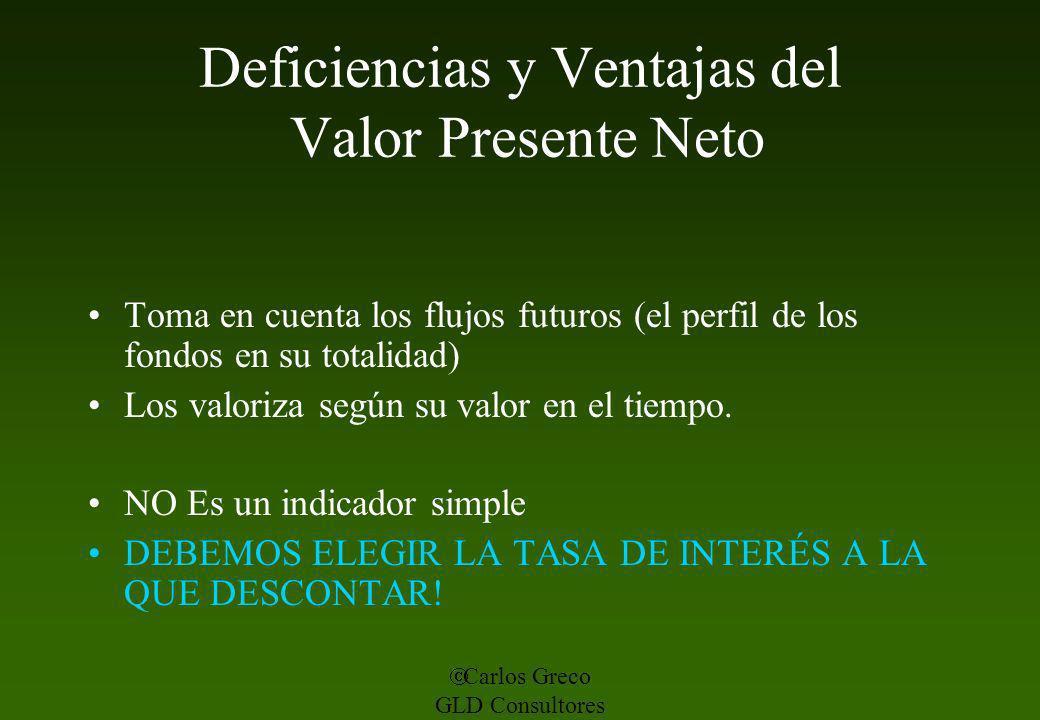 Carlos Greco GLD Consultores Deficiencias y Ventajas del Valor Presente Neto Toma en cuenta los flujos futuros (el perfil de los fondos en su totalida