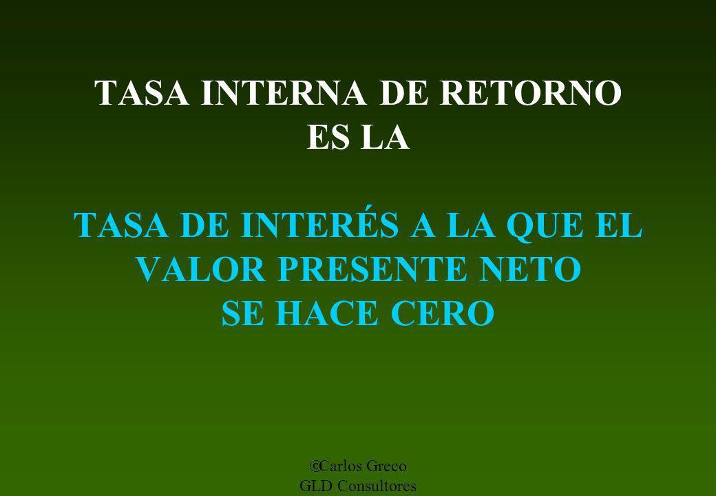 Carlos Greco GLD Consultores TASA INTERNA DE RETORNO ES LA TASA DE INTERÉS A LA QUE EL VALOR PRESENTE NETO SE HACE CERO