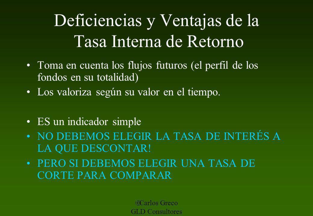 Carlos Greco GLD Consultores Deficiencias y Ventajas de la Tasa Interna de Retorno Toma en cuenta los flujos futuros (el perfil de los fondos en su to