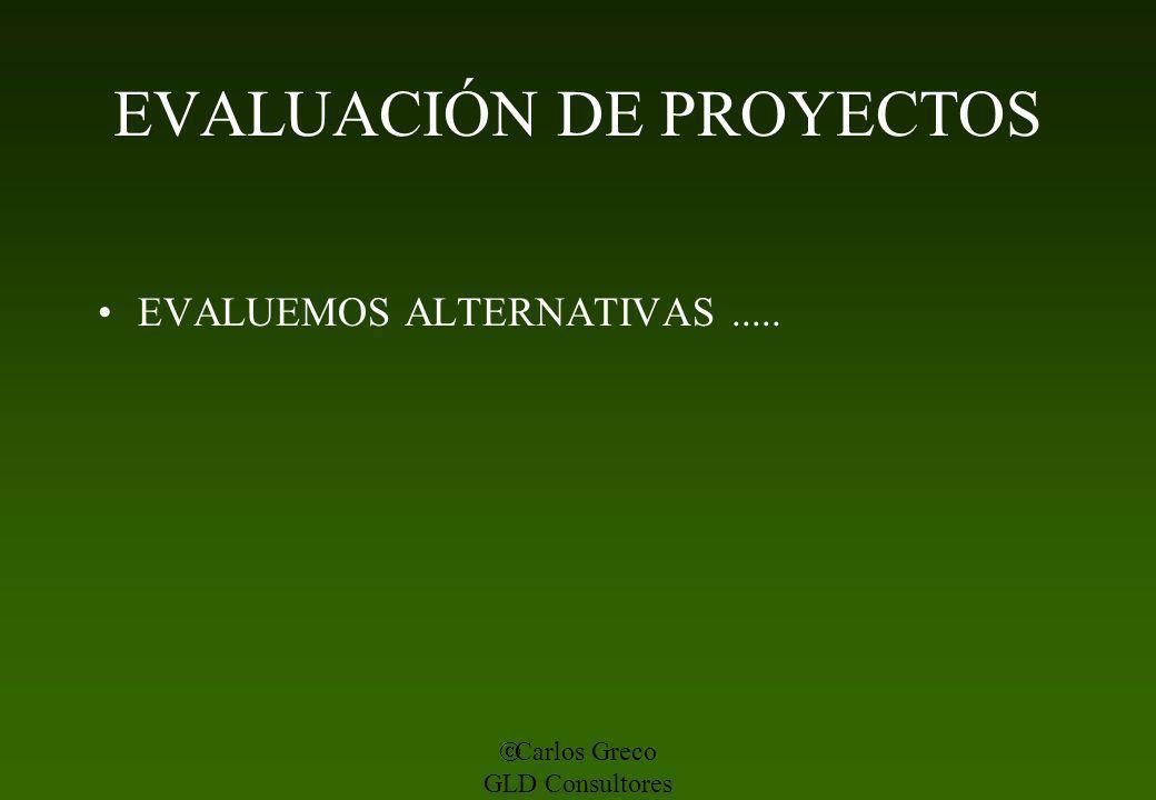 Carlos Greco GLD Consultores EVALUACIÓN DE PROYECTOS EVALUEMOS ALTERNATIVAS.....