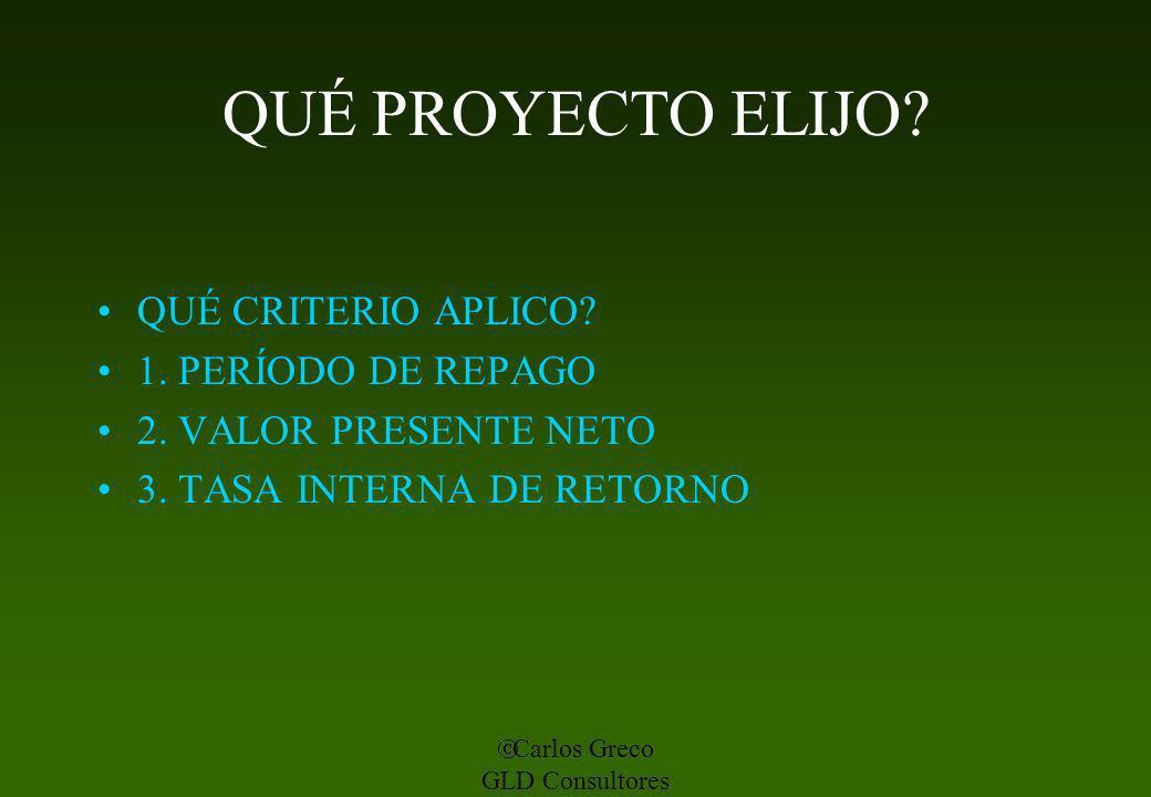 Carlos Greco GLD Consultores QUÉ PROYECTO ELIJO? QUÉ CRITERIO APLICO? 1. PERÍODO DE REPAGO 2. VALOR PRESENTE NETO 3. TASA INTERNA DE RETORNO