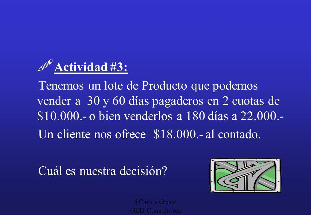 Carlos Greco GLD Consultores Análisis Financiero Actividad #3: Tenemos un lote de Producto que podemos vender a 30 y 60 días pagaderos en 2 cuotas de