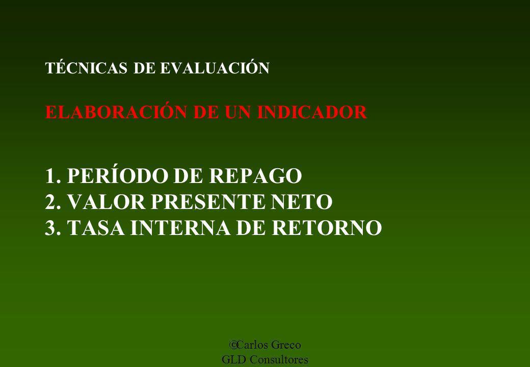 Carlos Greco GLD Consultores TÉCNICAS DE EVALUACIÓN ELABORACIÓN DE UN INDICADOR 1. PERÍODO DE REPAGO 2. VALOR PRESENTE NETO 3. TASA INTERNA DE RETORNO