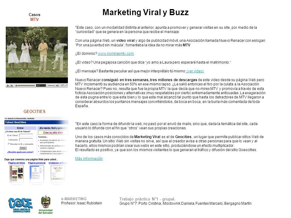 Marketing Viral y Buzz e-MARKETING Profesor: Isaac Rubistein Trabajo práctico N°1 - grupal.