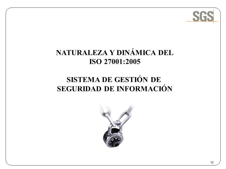 10 NATURALEZA Y DINÁMICA DEL ISO 27001:2005 SISTEMA DE GESTIÓN DE SEGURIDAD DE INFORMACIÓN