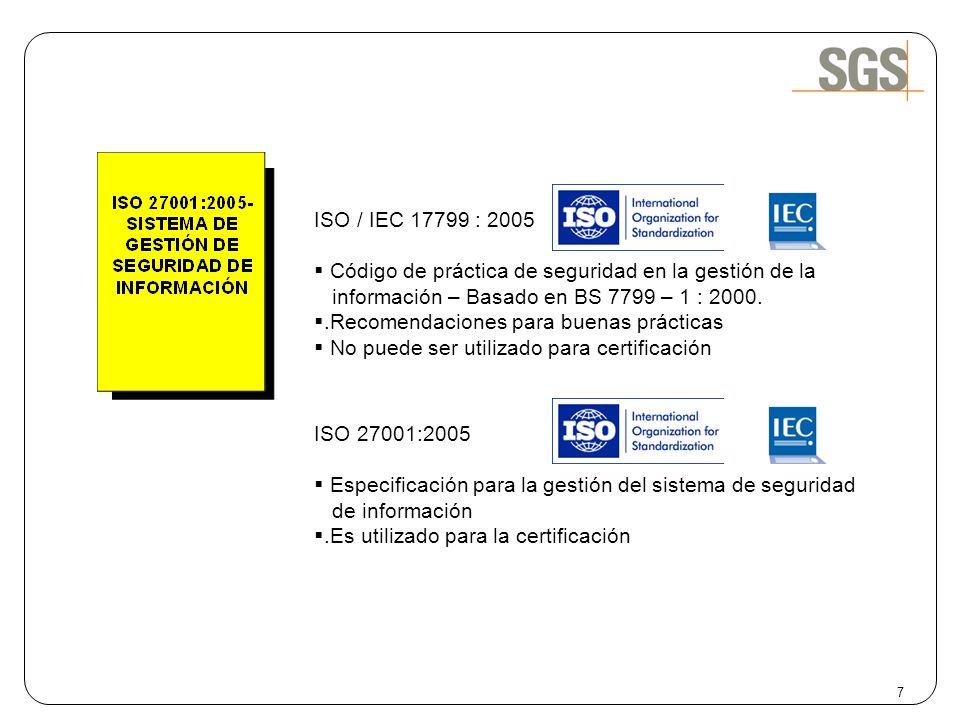 ISO / IEC 17799 : 2005 Código de práctica de seguridad en la gestión de la información – Basado en BS 7799 – 1 : 2000..Recomendaciones para buenas prá