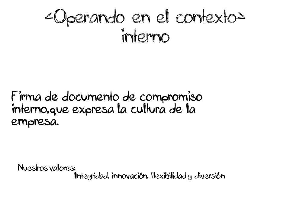interno Firma de documento de compromiso interno,que expresa la cultura de la empresa.
