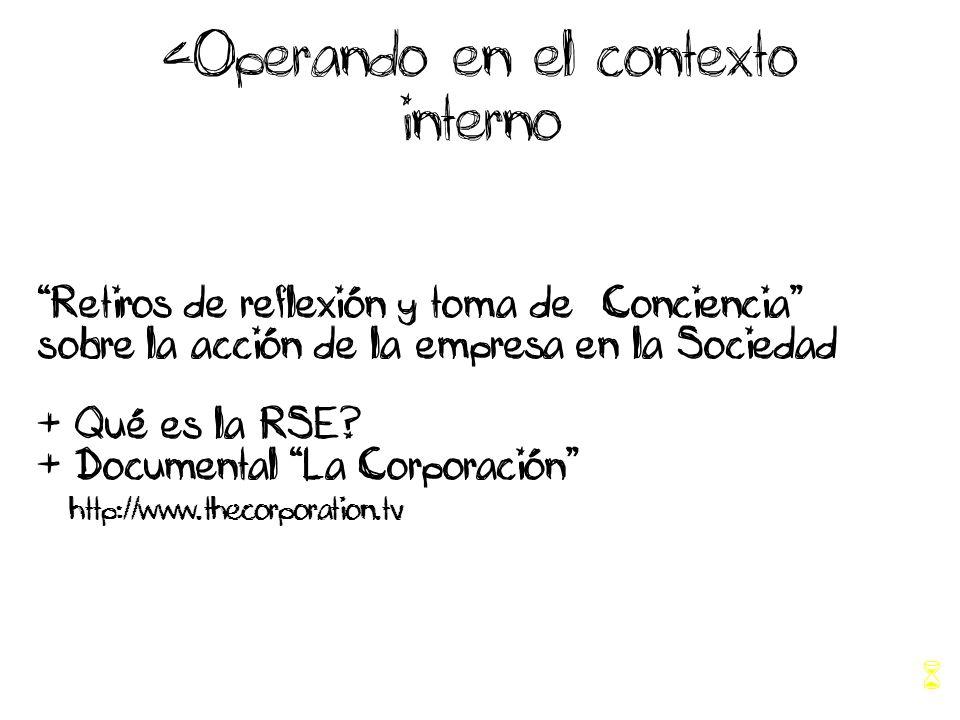 <Operando en el contexto interno Retiros de reflexión y toma de Conciencia sobre la acción de la empresa en la Sociedad + Qué es la RSE.