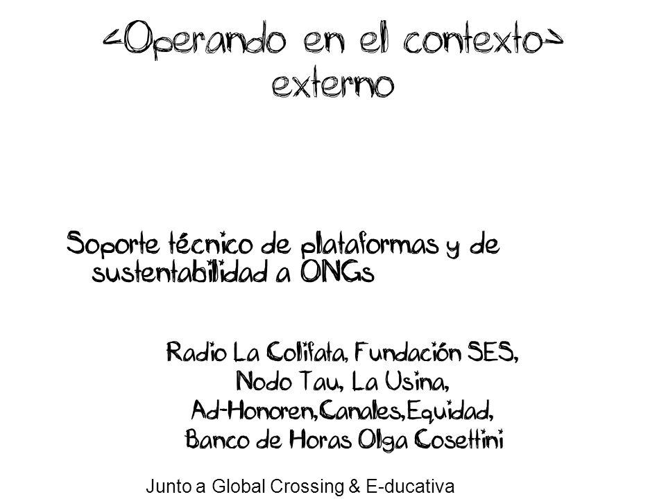 Soporte técnico de plataformas y de sustentabilidad a ONGs Radio La Colifata, Fundación SES, Nodo Tau, La Usina, Ad-Honoren,Canales,Equidad, Banco de Horas Olga Cosettini Junto a Global Crossing & E-ducativa