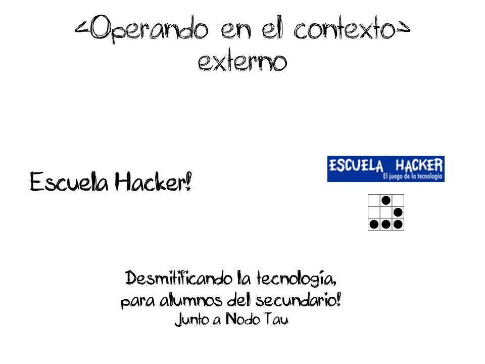 externo Escuela Hacker! Desmitificando la tecnología, para alumnos del secundario! Junto a Nodo Tau
