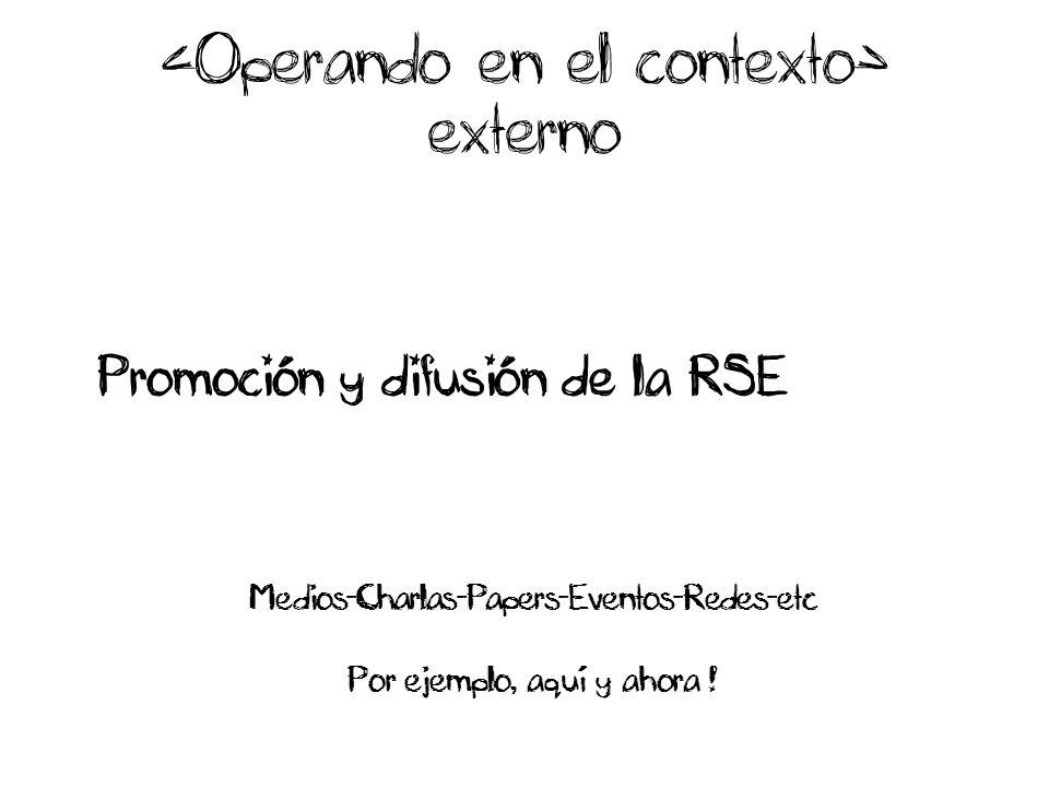 externo Promoción y difusión de la RSE Medios-Charlas-Papers-Eventos-Redes-etc Por ejemplo, aquí y ahora !