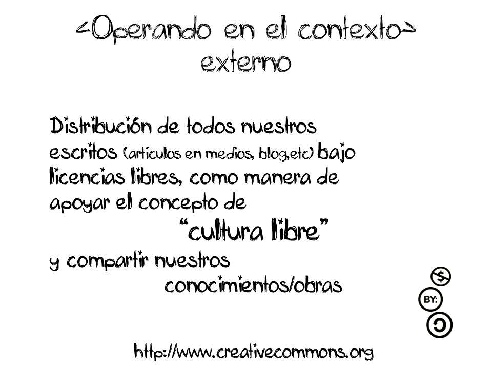 externo Distribución de todos nuestros escritos (artículos en medios, blog,etc) bajo licencias libres, como manera de apoyar el concepto de cultura libre y compartir nuestros conocimientos/obras http://www.creativecommons.org