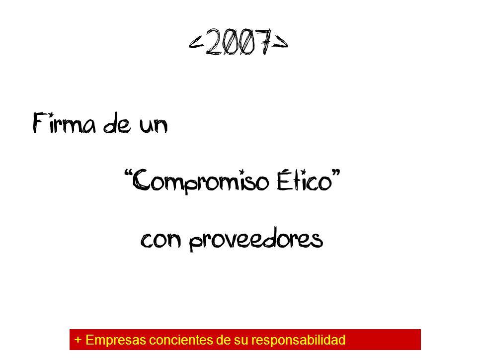 Firma de un Compromiso Ético con proveedores + Empresas concientes de su responsabilidad