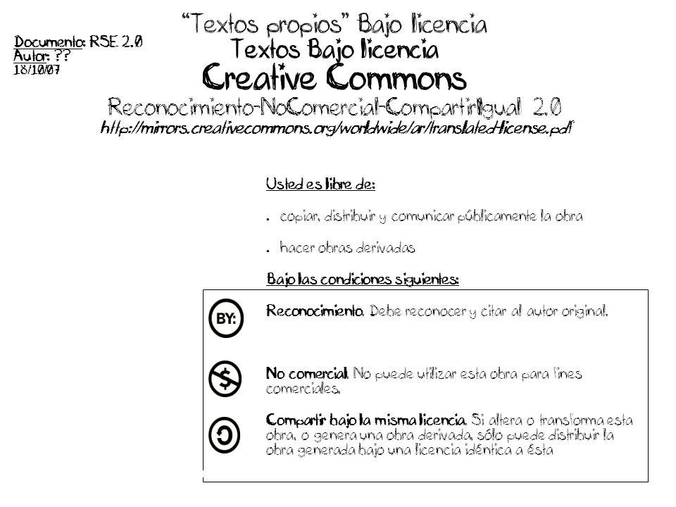 Textos propios Bajo licencia Textos Bajo licencia Creative Commons Reconocimiento-NoComercial-CompartirIgual 2.0 http://mirrors.creativecommons.org/worldwide/ar/translated-license.pdf Usted es libre de: copiar, distribuir y comunicar públicamente la obra hacer obras derivadas Bajo las condiciones siguientes: Reconocimiento.