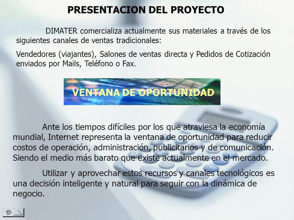 PRESENTACION DEL PROYECTO DIMATER comercializa actualmente sus materiales a través de los siguientes canales de ventas tradicionales: Vendedores (viaj