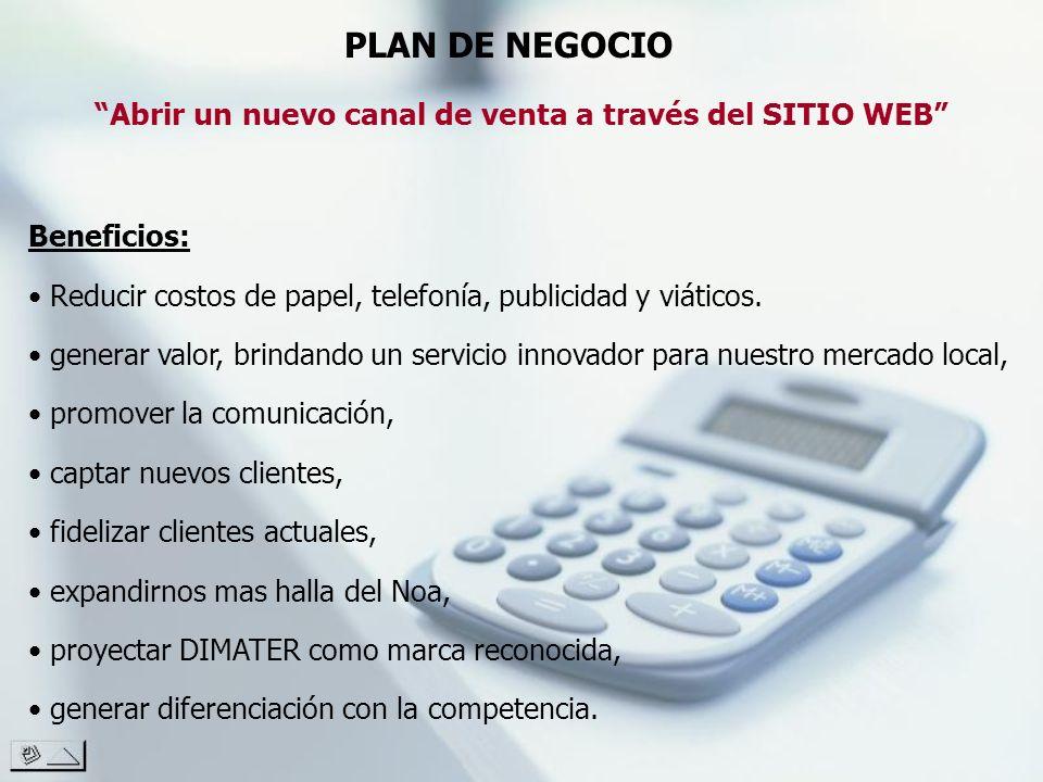 PLAN DE NEGOCIO Abrir un nuevo canal de venta a través del SITIO WEB Beneficios: Reducir costos de papel, telefonía, publicidad y viáticos. generar va