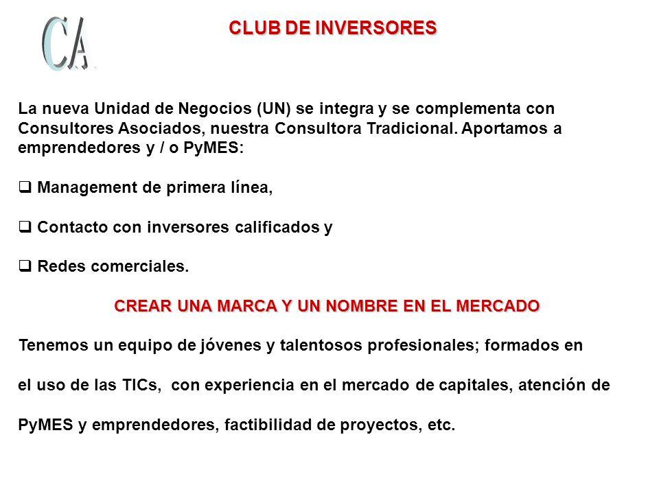 CLUB DE INVERSORES CLUB DE INVERSORES La nueva Unidad de Negocios (UN) se integra y se complementa con Consultores Asociados, nuestra Consultora Tradicional.