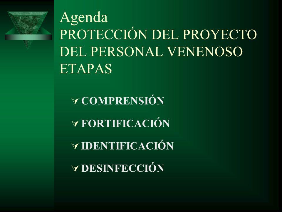Agenda PROTECCIÓN DEL PROYECTO DEL PERSONAL VENENOSO ETAPAS COMPRENSIÓN FORTIFICACIÓN IDENTIFICACIÓN DESINFECCIÓN