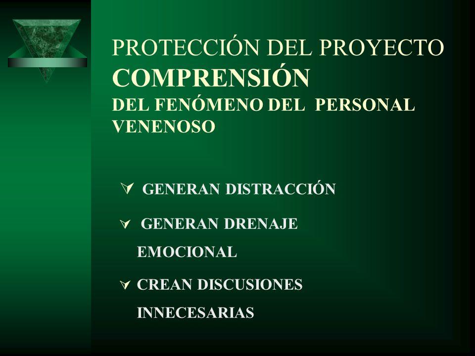 PROTECCIÓN DEL PROYECTO COMPRENSIÓN DEL FENÓMENO DEL PERSONAL VENENOSO GENERAN DISTRACCIÓN GENERAN DRENAJE EMOCIONAL CREAN DISCUSIONES INNECESARIAS