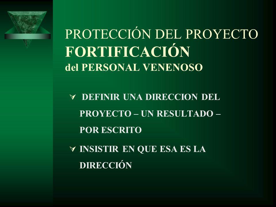 PROTECCIÓN DEL PROYECTO FORTIFICACIÓN del PERSONAL VENENOSO DEFINIR UNA DIRECCION DEL PROYECTO – UN RESULTADO – POR ESCRITO INSISTIR EN QUE ESA ES LA DIRECCIÓN